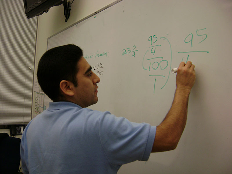 A student from Carlos Rosario in a GED class