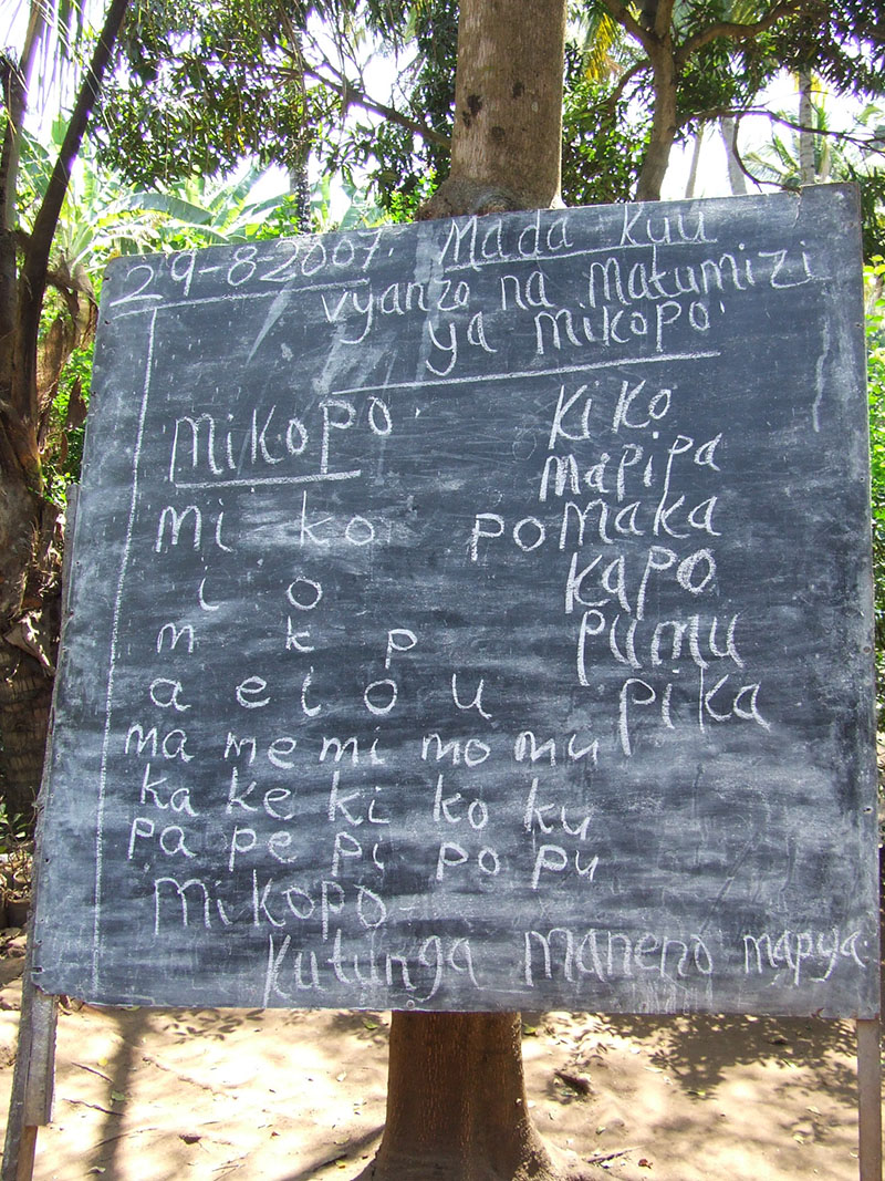 Literacy  class in session, in Kiroka, Morogoro, Eastern Tanzania.