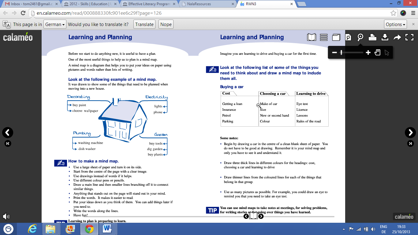Figure 4: Screenshot of a double page from an online workbook