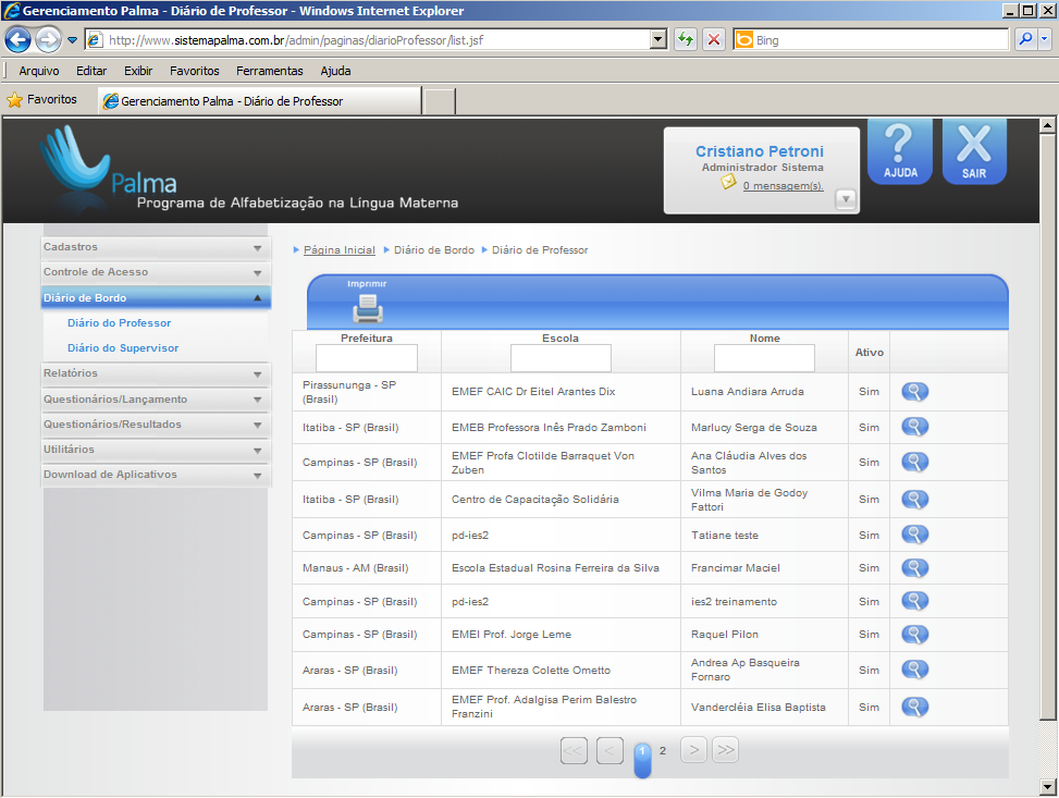 Screenshot from the facilitators' web interface